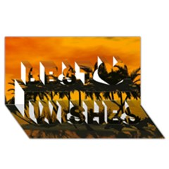 Sunset Over The Beach Best Wish 3D Greeting Card (8x4)