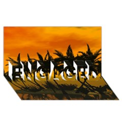 Sunset Over The Beach ENGAGED 3D Greeting Card (8x4)