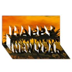 Sunset Over The Beach Happy New Year 3D Greeting Card (8x4)