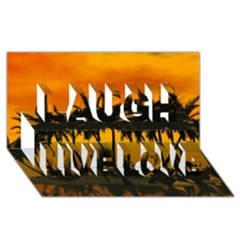 Sunset Over The Beach Laugh Live Love 3D Greeting Card (8x4)