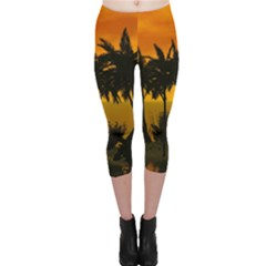 Sunset Over The Beach Capri Leggings