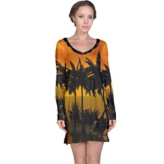 Sunset Over The Beach Long Sleeve Nightdresses