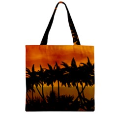 Sunset Over The Beach Zipper Grocery Tote Bags