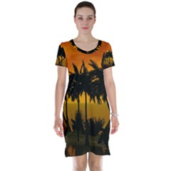 Sunset Over The Beach Short Sleeve Nightdresses