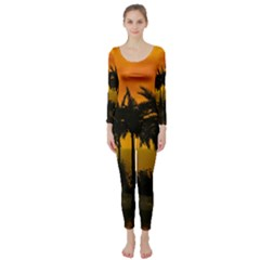 Sunset Over The Beach Long Sleeve Catsuit