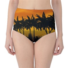 Sunset Over The Beach High Waist Bikini Bottoms