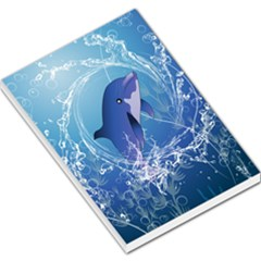 Cute Dolphin Jumping By A Circle Amde Of Water Large Memo Pads