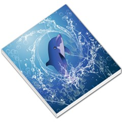 Cute Dolphin Jumping By A Circle Amde Of Water Small Memo Pads