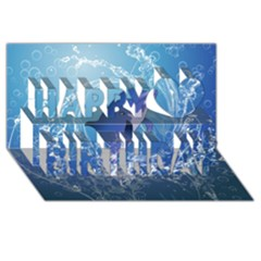 Cute Dolphin Jumping By A Circle Amde Of Water Happy Birthday 3d Greeting Card (8x4)