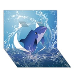Cute Dolphin Jumping By A Circle Amde Of Water Heart 3D Greeting Card (7x5)