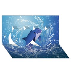 Cute Dolphin Jumping By A Circle Amde Of Water Twin Hearts 3D Greeting Card (8x4)