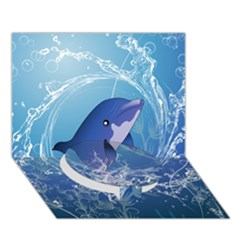 Cute Dolphin Jumping By A Circle Amde Of Water Circle Bottom 3D Greeting Card (7x5)