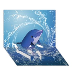 Cute Dolphin Jumping By A Circle Amde Of Water LOVE Bottom 3D Greeting Card (7x5)