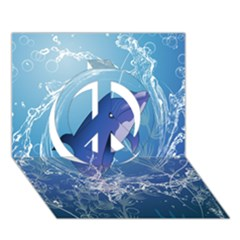 Cute Dolphin Jumping By A Circle Amde Of Water Peace Sign 3D Greeting Card (7x5)