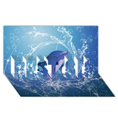 Cute Dolphin Jumping By A Circle Amde Of Water BEST SIS 3D Greeting Card (8x4)