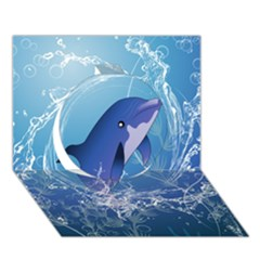 Cute Dolphin Jumping By A Circle Amde Of Water Circle 3d Greeting Card (7x5)