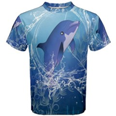 Cute Dolphin Jumping By A Circle Amde Of Water Men s Cotton Tees