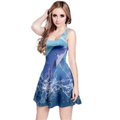 Cute Dolphin Jumping By A Circle Amde Of Water Reversible Sleeveless Dresses