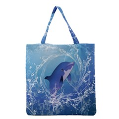 Cute Dolphin Jumping By A Circle Amde Of Water Grocery Tote Bags