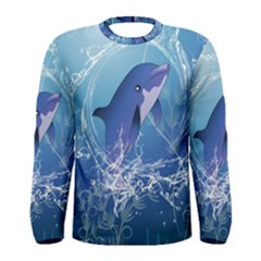 Cute Dolphin Jumping By A Circle Amde Of Water Men s Long Sleeve T-shirts