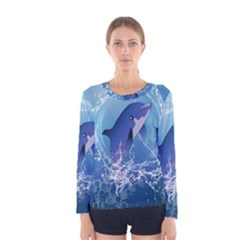 Cute Dolphin Jumping By A Circle Amde Of Water Women s Long Sleeve T Shirts