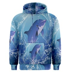 Cute Dolphin Jumping By A Circle Amde Of Water Men s Pullover Hoodies