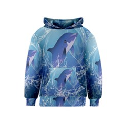 Cute Dolphin Jumping By A Circle Amde Of Water Kid s Pullover Hoodies