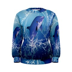 Cute Dolphin Jumping By A Circle Amde Of Water Women s Sweatshirts
