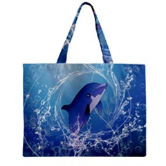 Cute Dolphin Jumping By A Circle Amde Of Water Zipper Tiny Tote Bags