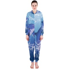 Cute Dolphin Jumping By A Circle Amde Of Water Hooded Jumpsuit (Ladies)