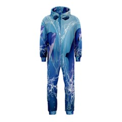 Cute Dolphin Jumping By A Circle Amde Of Water Hooded Jumpsuit (Kids)