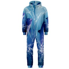 Cute Dolphin Jumping By A Circle Amde Of Water Hooded Jumpsuit (Men)