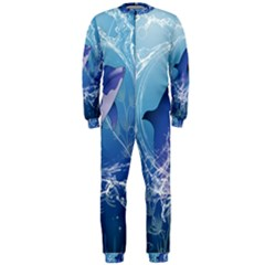 Cute Dolphin Jumping By A Circle Amde Of Water OnePiece Jumpsuit (Men)