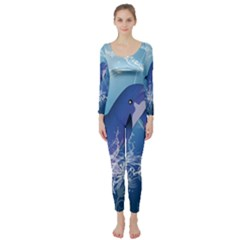 Cute Dolphin Jumping By A Circle Amde Of Water Long Sleeve Catsuit