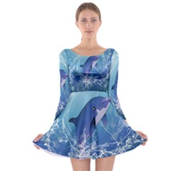 Cute Dolphin Jumping By A Circle Amde Of Water Long Sleeve Skater Dress