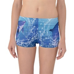 Cute Dolphin Jumping By A Circle Amde Of Water Boyleg Bikini Bottoms