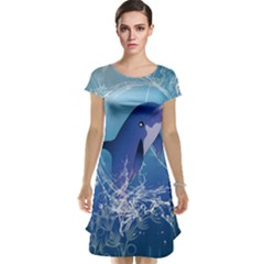 Cute Dolphin Jumping By A Circle Amde Of Water Cap Sleeve Nightdresses