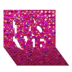 Polka Dot Sparkley Jewels 1 LOVE 3D Greeting Card (7x5)