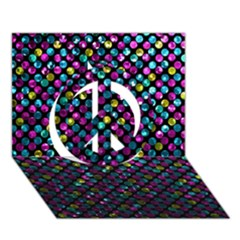 Polka Dot Sparkley Jewels 2 Peace Sign 3d Greeting Card (7x5)