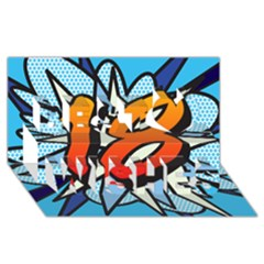 Comic Book 18 Blue Best Wish 3D Greeting Card (8x4)