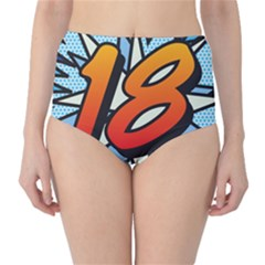 Comic Book 18 Blue High-Waist Bikini Bottoms