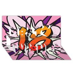 Comic Book 18 Pink Best Wish 3D Greeting Card (8x4)