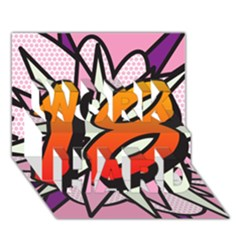 Comic Book 18 Pink WORK HARD 3D Greeting Card (7x5)