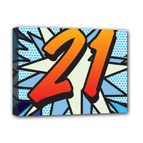 Comic Book 21 Blue Deluxe Canvas 16  x 12