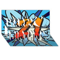 Comic Book 21 Blue Happy Birthday 3d Greeting Card (8x4)
