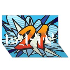 Comic Book 21 Blue PARTY 3D Greeting Card (8x4)