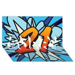 Comic Book 21 Blue SORRY 3D Greeting Card (8x4)