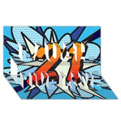 Comic Book 21 Blue Laugh Live Love 3D Greeting Card (8x4)
