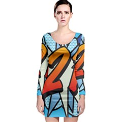 Comic Book 21 Blue Long Sleeve Bodycon Dresses