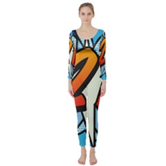 Comic Book 21 Blue Long Sleeve Catsuit